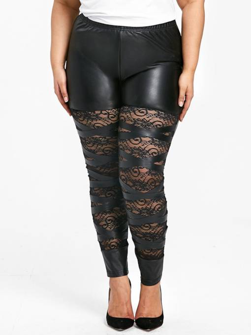 Plus Size Lace Patchwork Skinny Slim Fit Women's PU Leggings