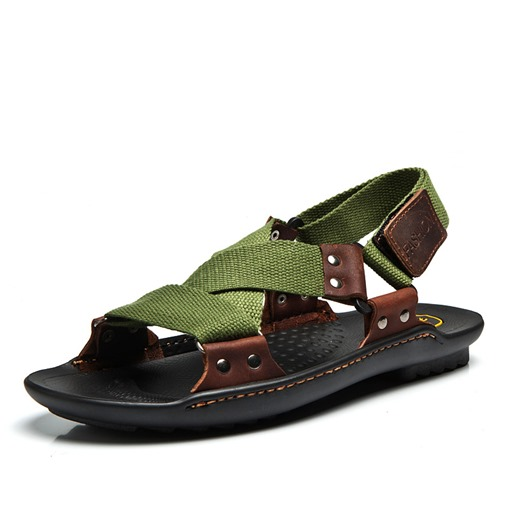 Summer Velcro Rivet Thread Soft Men's Sandals