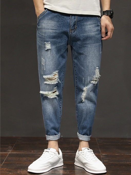 Hole Straight Slim Men's Casual Jeans