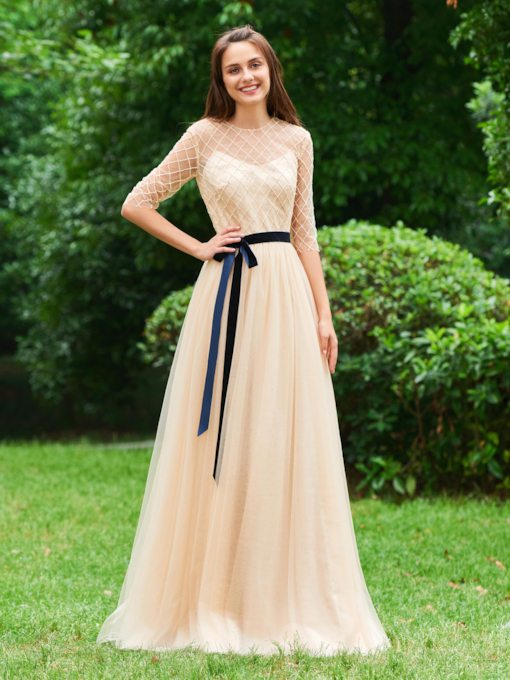 A-Line Button Lace Sashes Bowknot Evening Dress