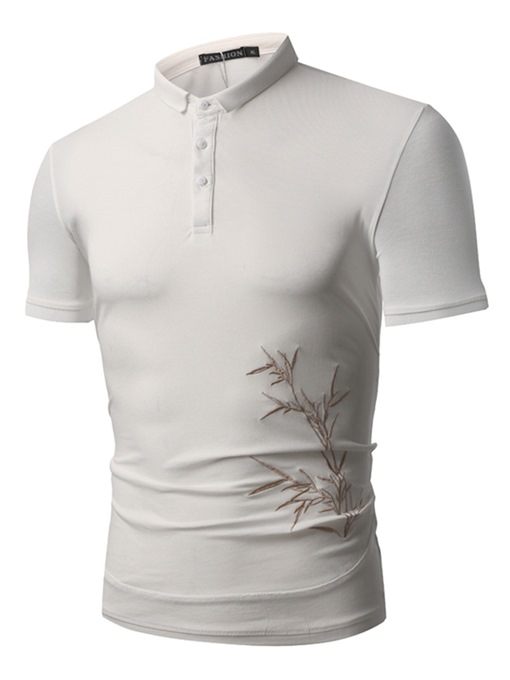 Embroidery Plain Slim Men's Polo