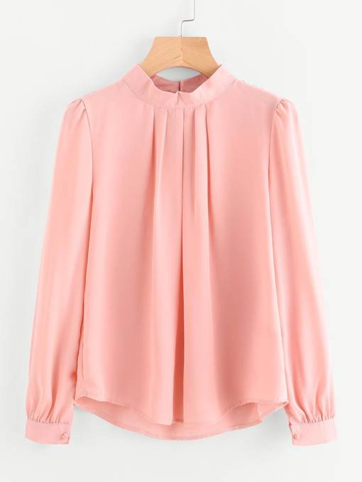 Pleated Lantern Sleeve Chiffon Women's Blouse