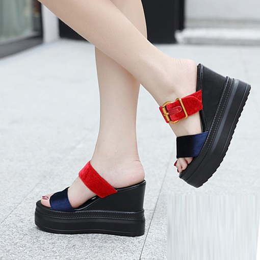 Wedge Heel Suede Summer Color Block Flip Flop for Women