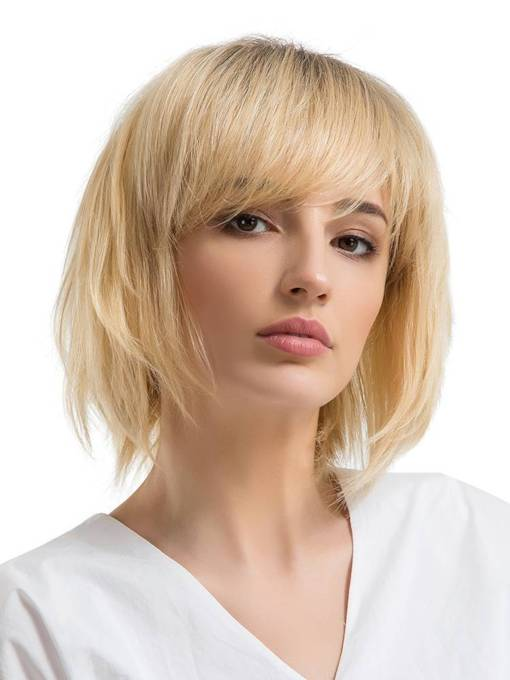 Natrual Straight With Bang Women Capless Wig 12 Inches