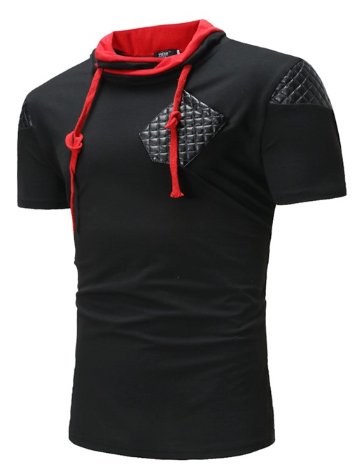 Patchwork Lace-up Slim Men's T-Shirt