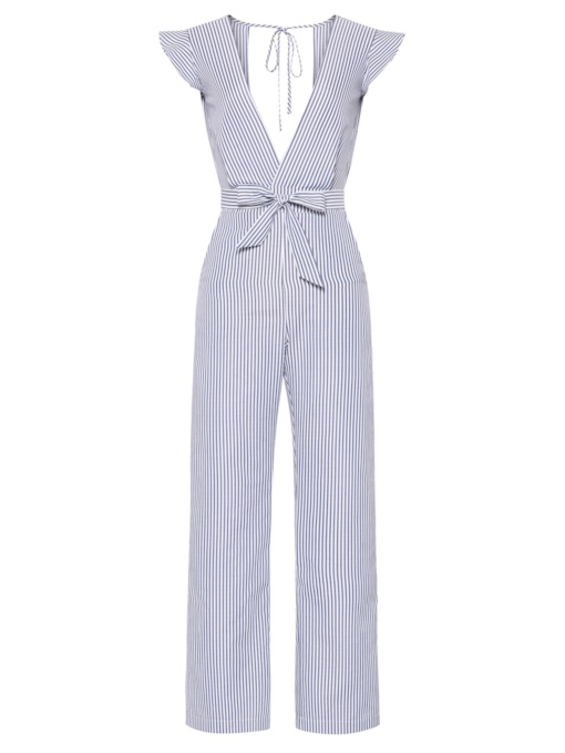 Stripe Backless V Neck Bowtie Women's Jumpsuit