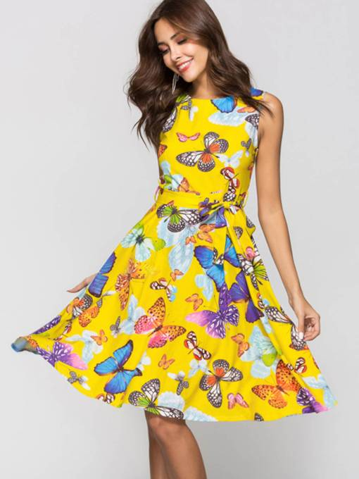 Yellow Sleeveless Butterfly Pattern Women's Day Dress