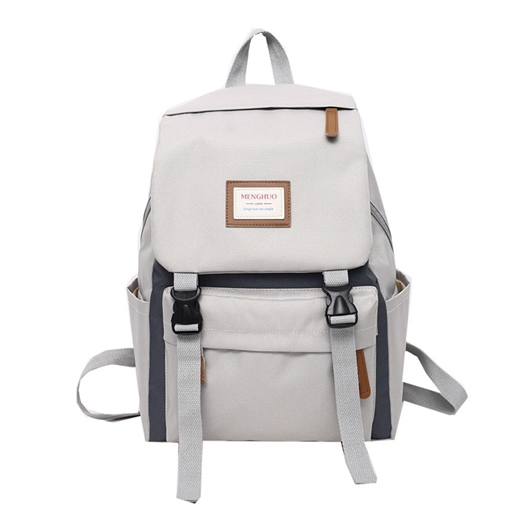 Modern Style Color Block Zipper Medium Backpack