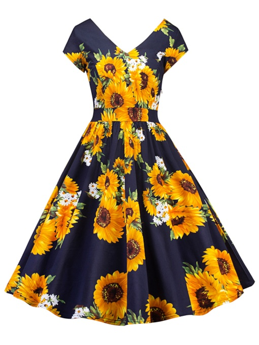 Floral Prints High Waist Short Sleeve Day Dress