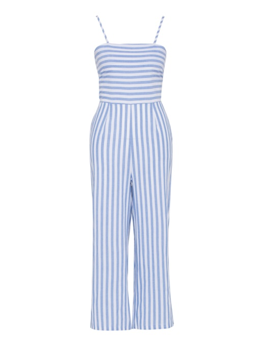 Stripe Straight Backless Pocket Women's Jumpsuit
