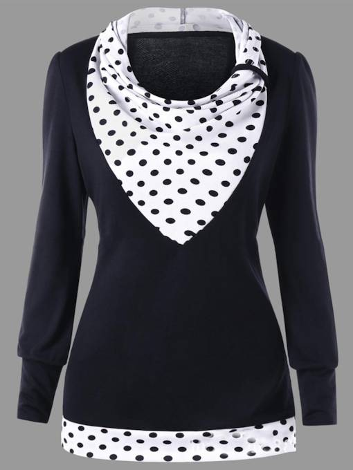Polka Dot Color Block Women's Sweatshirt