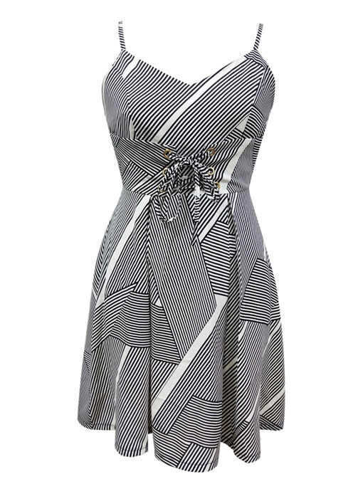 Black Striped Strappy Women's Day Dress