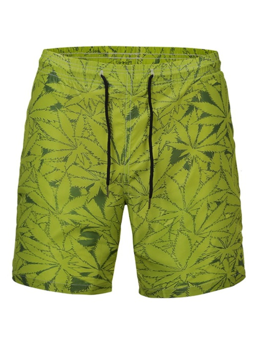 Floral Lace-Up Straight Mid Waist Men's Beach Shorts
