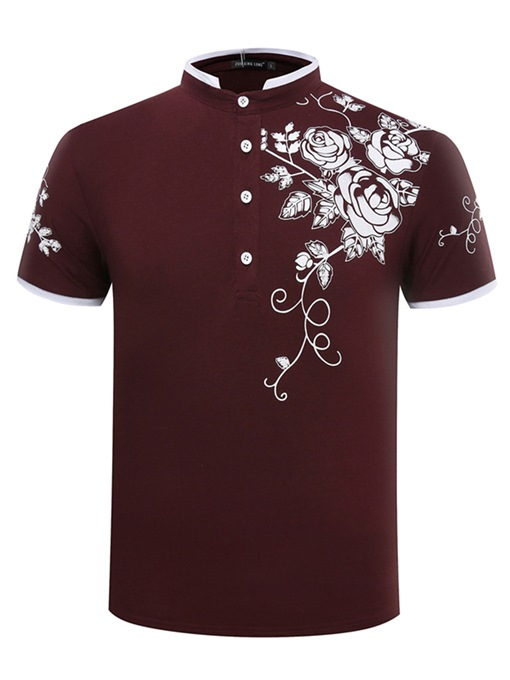 Stand Collar Floral Print Men's Polo
