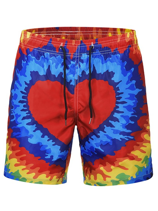 Quick Dry Heart Print Loose Men's Swim Shorts