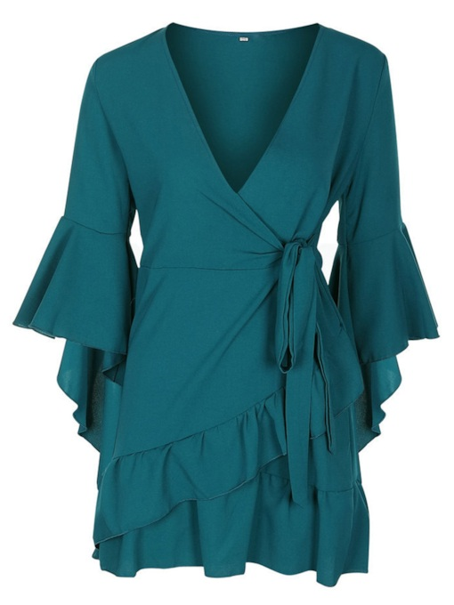 V Neck Bell Sleeve Falbala Hem Bowknot Day Dress
