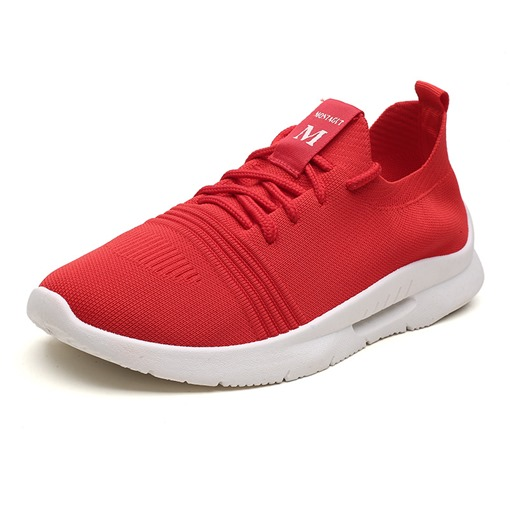 Mesh Lace-Up Round Toe Sports Shoes for Men
