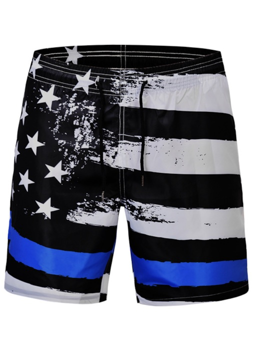 Print Geometric Straight European Mid Waist Men's Beach Shorts