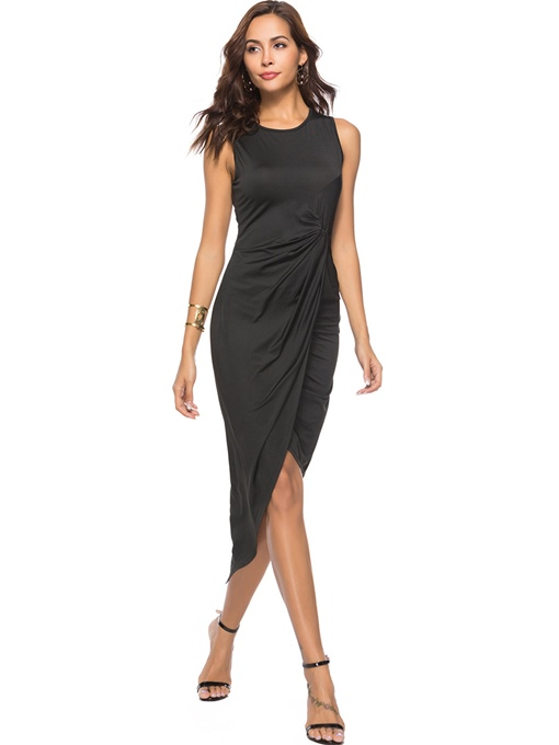 Black Sleeveless Plain Split Women's Sheath Dress