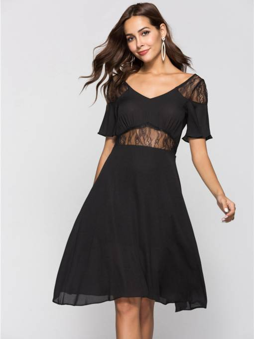 Black See-Through Patchwork Women's Party Dress