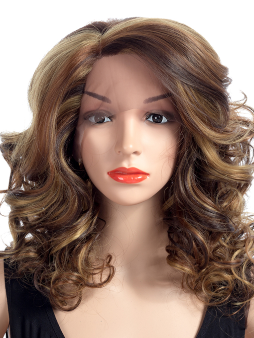 One Side Parting Curly Synthetic Hair Lace Front Wig