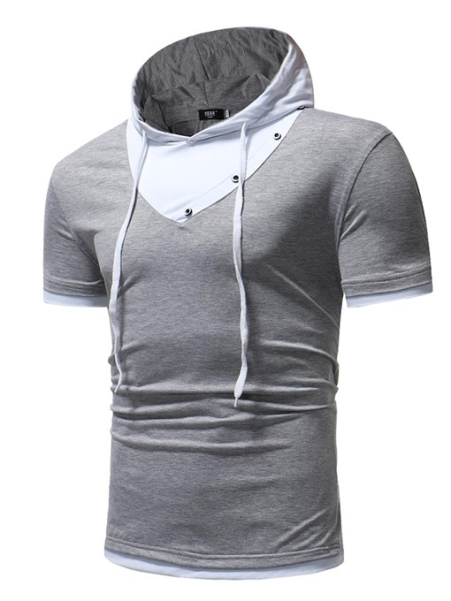 Hooded Color Block Slim Plain Men's T-Shirt