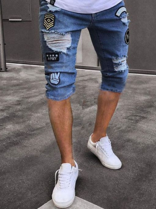 Hole Badge Denim Men's Short Pants