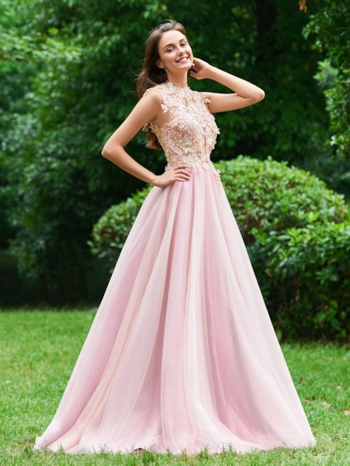 A-Line Button Appliques Beading Scoop Prom Dress