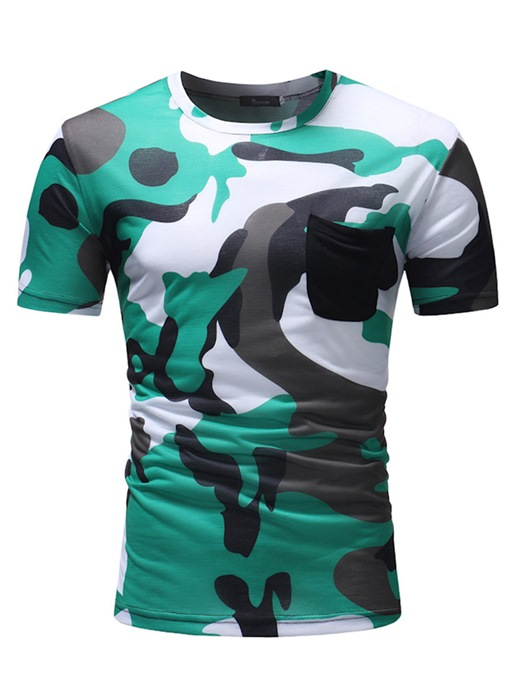 Camouflage Round Collar Slim Thin Men's T-Shirt