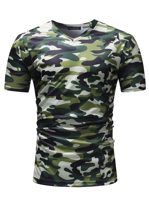 V-Neck Camouflage Thin Men's T-Shirt