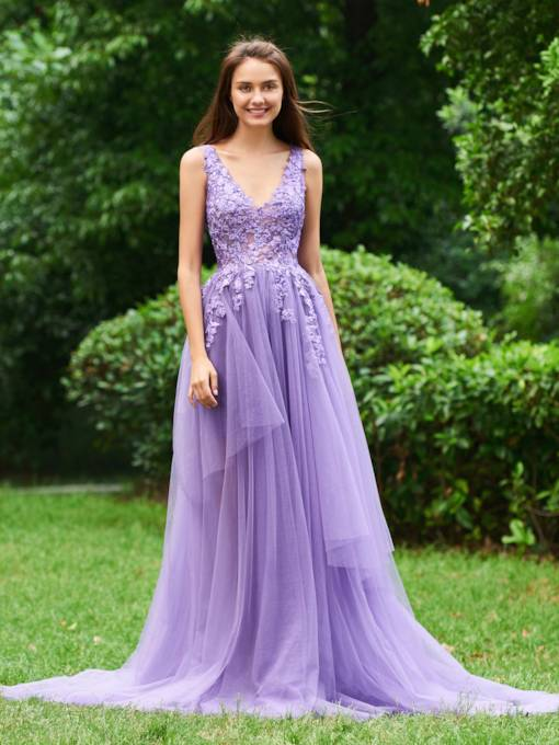 Appliques V-Neck Tiered Tulle Prom Dress 2019