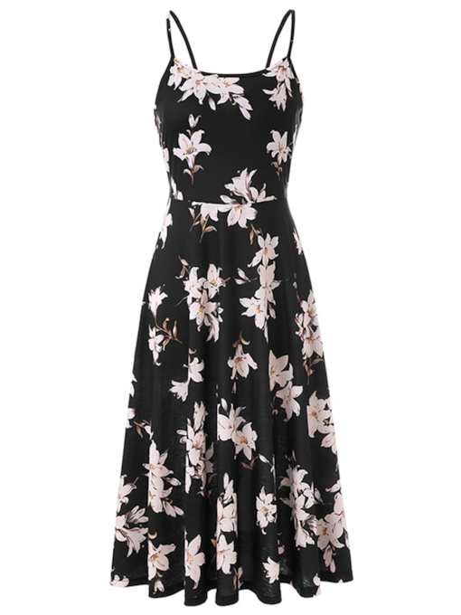 Adjustable Shoulder Straps Floral Women's Day Dress