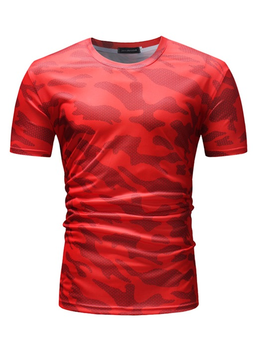 Camouflage Round Collar Slim Men's T-Shirt