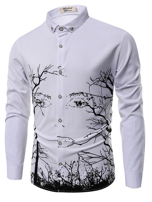 Lapel Tree Print Plain Men's Shirt
