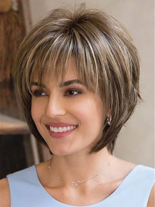 Women's Short Bob Style Straight Synthetic Hair Wigs With Bangs Capless Wigs 10inch