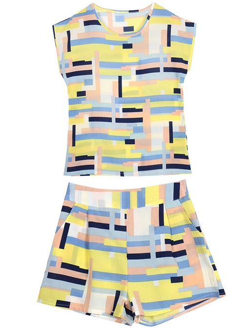 Color Block Patchwork Sleeveless Women's Two Piece Set