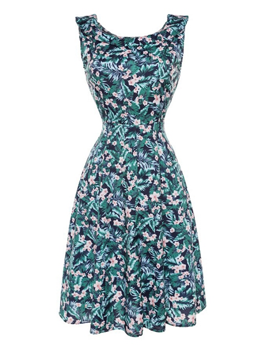 Green Sleeveless Women's Floral Dress
