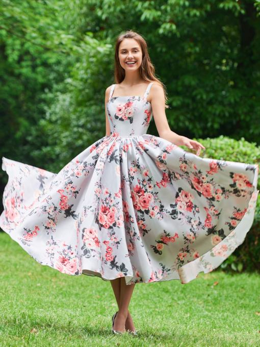 Straps Tea-Length Print Prom Dress