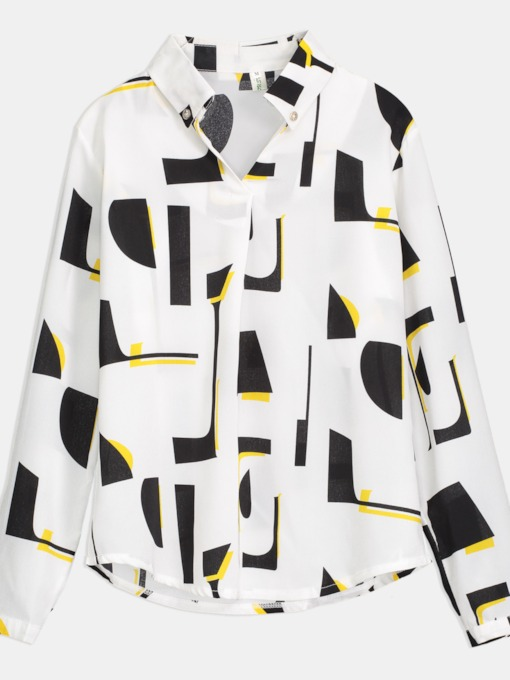 Geometric Print Long Sleeve V-Neck Women's Blouse