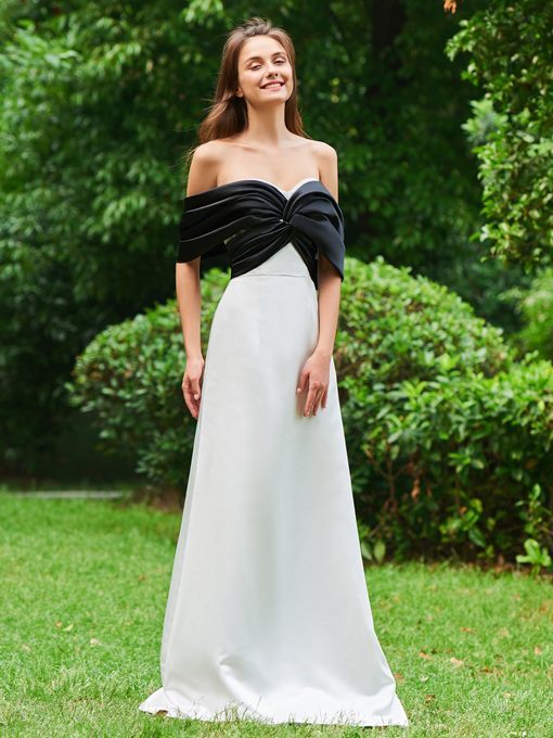 A-Line Off-the-Shoulder Draped Prom Dress