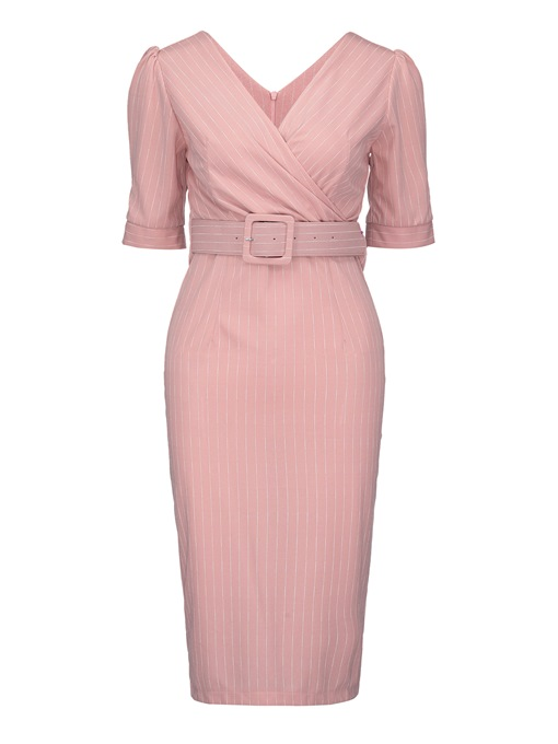 Pink Half Sleeve Women's Sheath Dress