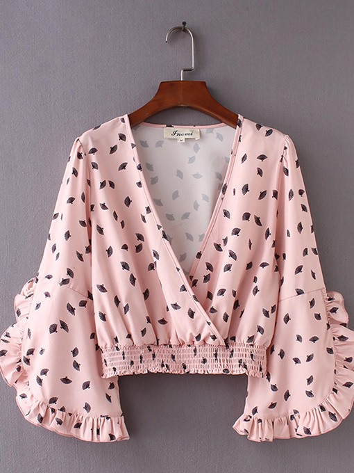 Frill Stretchy Waist Polka Dot Puff Sleeve Women's Blouse