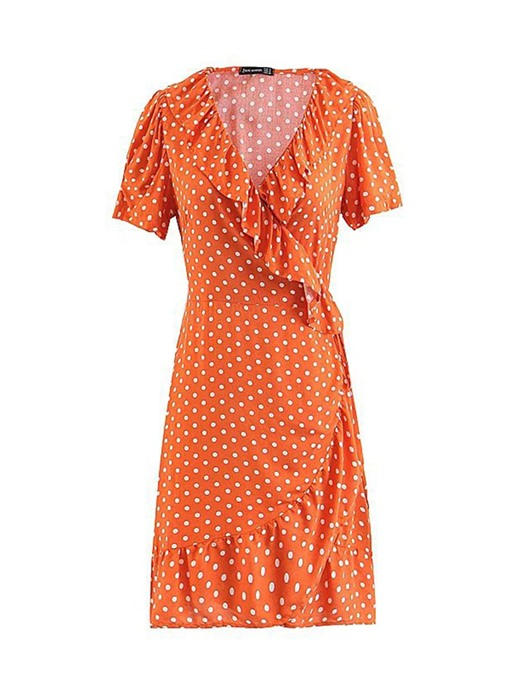 Orange Polka Dots Falbala Women's Sheath Dress