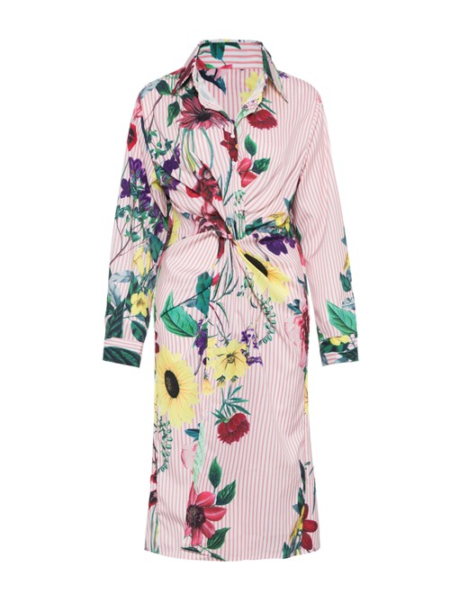 Long Sleeve Printing Flower Ruffle Shirt Dress