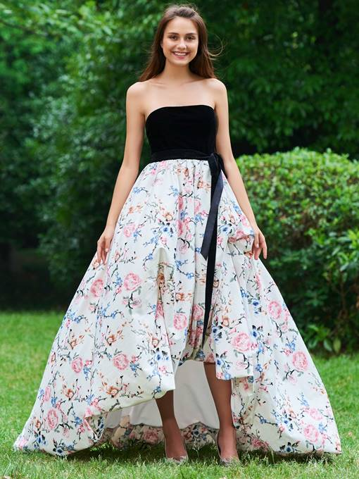 A-Line Bowknot Printed Empire Prom Dress