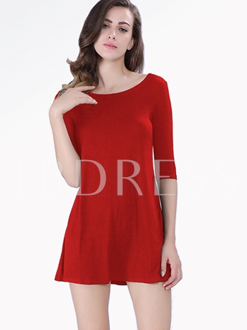 Straight Round Neck Women's Day Dress(Plus Size Available)