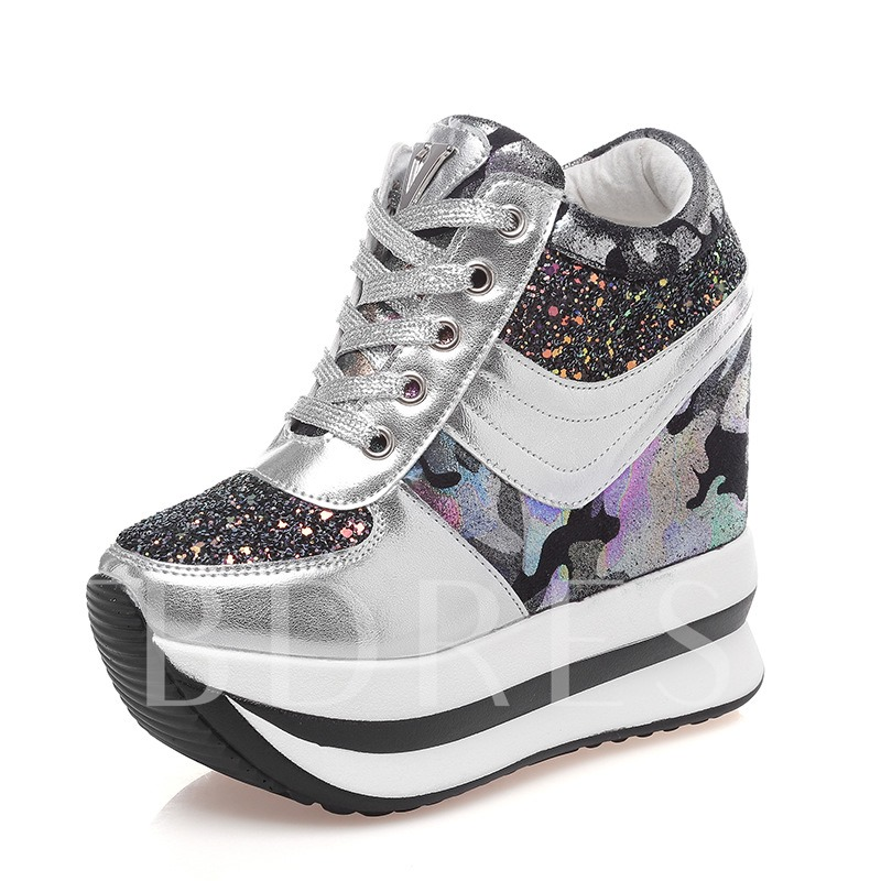 Buy Camouflage Patchwork Sequin Platform Lace Up Women's Sneaker, Spring,Summer,Fall, 13307724 for $41.78 in TBDress store