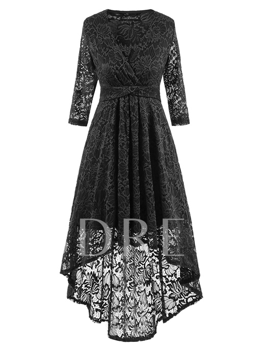 Asym 3/4 Sleeve Women's Lace Dress