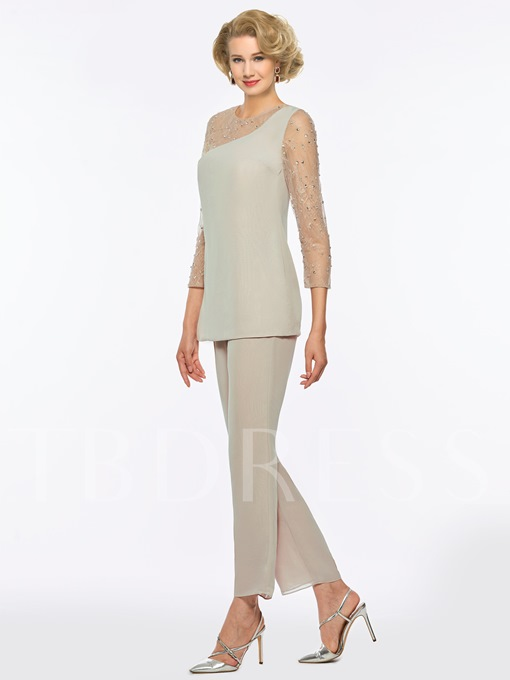 Lace Sleeves Beading Mother Of The Bride Jumpsuits