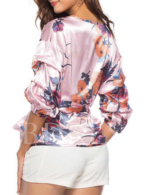 Puff Sleeve Floral Lace Up Women's Blouse